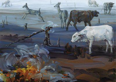 Melissa Miller, Smoldering Pasture, 2013, Oil on canvas, 14h x 18w in