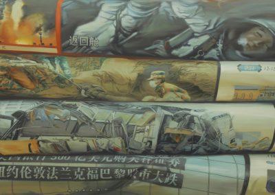 Xiaoze Xie, April - November 2008, G.Z.R.B. (Guangzhou Ri Bao), 2010, Oil on canvas, 48 x 92 in