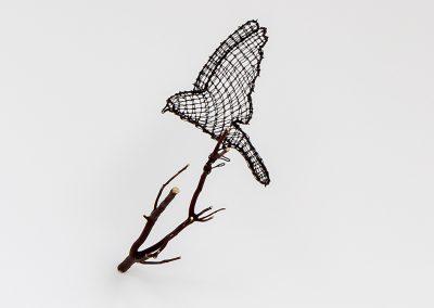 Helen Altman, Bluebird (landing), 2019, Wire, manzanita branch, 11h x 6w x 14d in