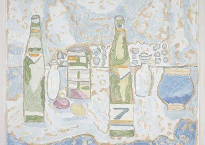 Francesca Fuchs, Bottles, 2013, Acrylic on canvas over board, 20h x 25w in