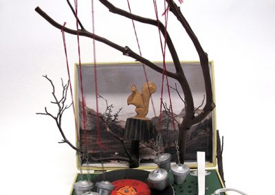 Helen Altman, Cover Your Nut, 2014,  record player, manzanita wood, tea infusers, laser print and found objects 22 x 16 x 17 inches