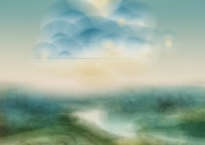 Ted Kincaid, Fantasia on a Landscape by Patinir, 2019, Varnished Ink on Canvas, 75h x 50w in
