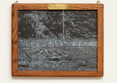 Helen Altman, Forest/Dam, 2019 Acrylic on slate chalkboard, 10 1/2h x 13w in