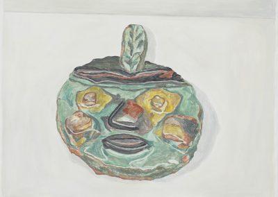 Francesca Fuchs, Green Indian, 2018, Acrylic on canvas, 30h x 41 1/2w in