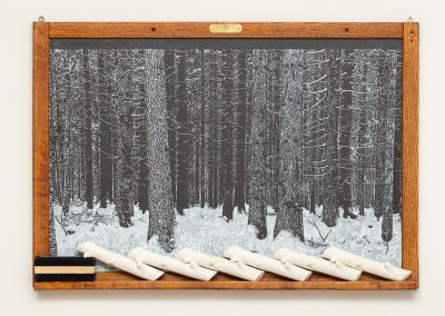 Helen Altman, Lost, 2019 Vintage slate chalkboard, acrylic, cast plaster and eraser, 23h x 32w x 2d in
