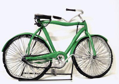 Margarita Cabrera, Bicicleta Verde (Green), 2006, Vinyl, foam, string and wire, 43h x 74w x 30d in