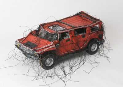 Margarita Cabrera, Mini Hummer (Red) 10, 2005, Vinyl and thread with model parts, 4 1/2h x 5w x 10d in