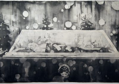 Xiaoze Xie, Mao Mausoleum No. 3 (with white circles), 2008, ink on rice paper, 42 x 79 inches