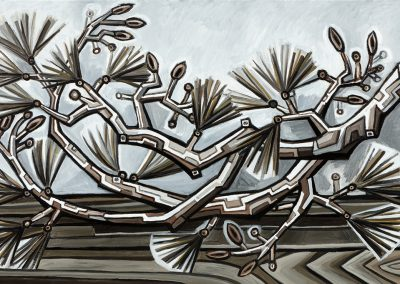 David Bates, Pine Branch II, 2017, Oil on canvas, 36h x 60w in