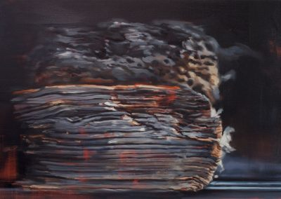 Xiaoze Xie, Through Fire (Books that Survived the Anti-Japanese War of Resistance at Tsingtua University Library, No. 4), 2017, Oil on linen, 36h x 54w in