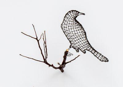 Helen Altman, Second Thoughts (Mockingbird), 2019, Wire, manzanita branch, 9h x 12w x 15d in