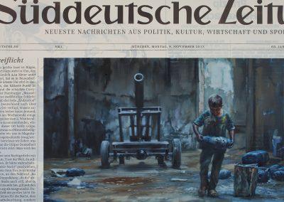 Xiaoze Xie, September 9, 2013 S.Z. (Süddeutsche Zeitung), 2014, Oil and acrylic on canvas, 64 x 95 in