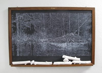 Helen Altman, Sticks And Stones (2), 2017, acrylic on vintage chalkboard, cast plaster, 24 x 36 x 2 1/2 inches