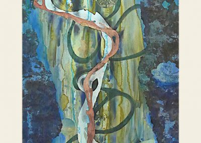 Liz Ward, Ghosts of the Old Mississippi: Strange Fruit, 2015, Watercolor, pastel, gesso, ink and collage on paper, 72h x 32w in