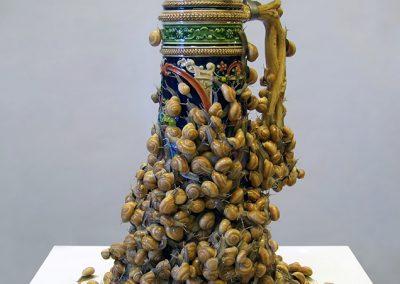 Erick Swenson, Schwarmerei, 2012, Acrylic on resin, silicone, MDF, 45 1/2h x 16w x 16d in
