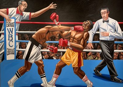 David Bates, The Knockout, 1985, Oil on canvas, 78h x 96w in