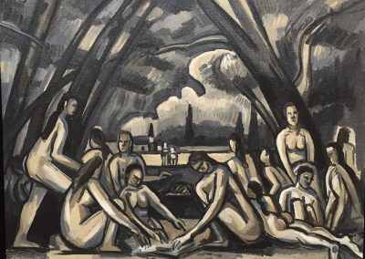 David Bates, The Large Bathers I (After Cezanne), 2009, Oil on canvas, 30h x 40w in