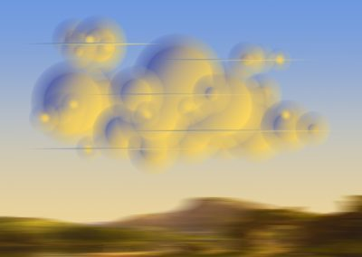 Ted Kincaid, Thomas Cole Thunderhead 812, 2019, Varnished Ink on Canvas, 50h x 62.5w in