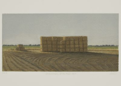 Julie Bozzi, Evening/Stacked Hay, 2014, Gouache on paper, 8h x 11 1/4w in