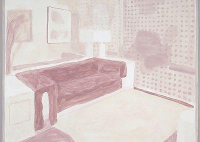 Francesca Fuchs, Interior with Sofa, 2013, Acrylic on canvas over board, 18 1/2h x 23 1/2w in