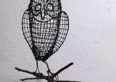 Helen Altman, Little Winged Owl, 2020, Wire, manzanita branch, 10h x 9w x 14d in
