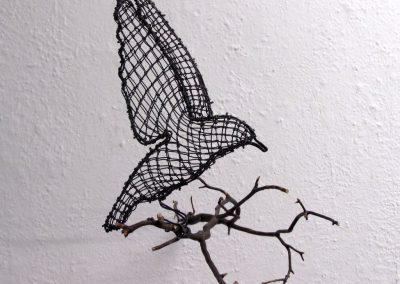 Helen Altman, Perfect Landing (Bluebird), 2020, Wire, manzanita branch, 11h x 9w x 15 1/2d in