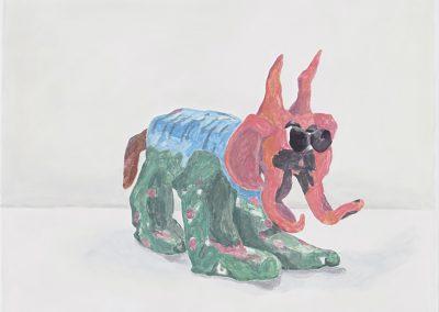 Francesca Fuchs, Pink Headed Monster, 2018, Acrylic on canvas, 30h x 41 1/2w in