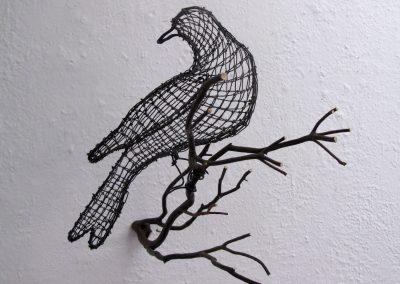 Helen Altman, Reflective Dove, 2020, Wire, manzanita branch, 11h x 11w x 11d in