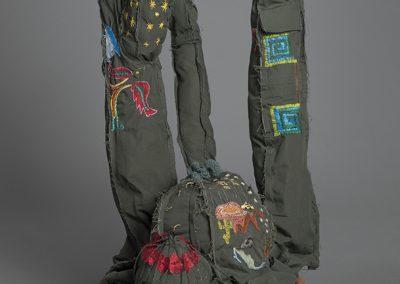 Margarita Cabrera, Space in Between - Bisnaga (Leonor Aispuro and Angelica Gonzalez), 2016, Border patrol uniform fabric, copper wire, thread, terra cotta pot, 32 1/2h x 19w x 18d in