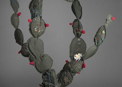 Margarita Cabrera, Space in Between - Nopal (Rosa E De Los Santos), 2016, Border patrol uniform fabric, copper wire, thread, terra cotta pot, 61 1/2h x 52w x 50d in