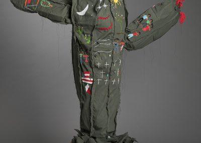 Margarita Cabrera, Space in Between - Saguaro (Liliana Santoyo), 2016, Border patrol uniform fabric, copper wire, thread, terra cotta pot, 60h x 52w x 18d in