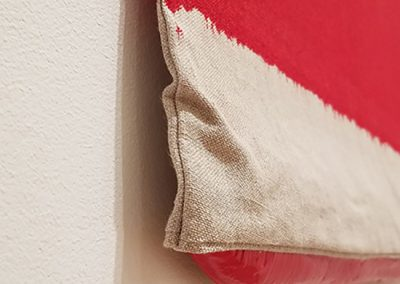 Analia Saban, Pressed Paint (Cadmium Red) detail, 2017, Acrylic paint pressed in linen, 34h x 27w in