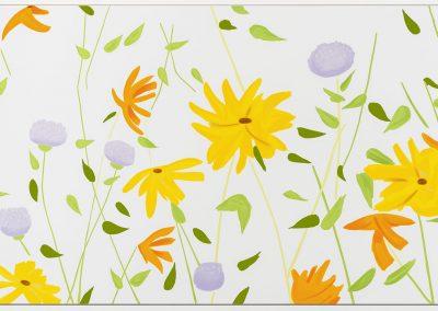 Alex Katz, Summer Flowers, 2018, Enamel based silkscreen inks in color hand-printed on gessoed canvas, 42h x 111w in