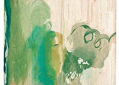 Helen Frankenthaler, Snow Pines, 2004, Thirty-four water based color Ukiyo-e style woodcut, 37 1/2h x 26w in