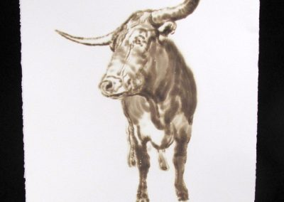 Helen Altman, Longhorn 1, 2018, torch drawing on paper, 30 x 22 1/2 inches