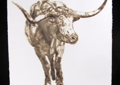 Helen Altman, Longhorn 3, 2018, torch drawing on paper, 30 x 22 1/2 inches