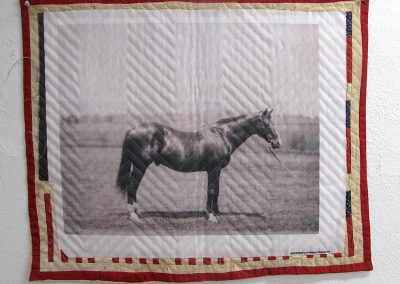 Helen Altman, Small Blanket (Horse), 2016, thermal transfer, blanket and thread, 24 x 29 inches