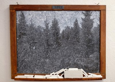 Helen Altman, Snow 2, 2018, acrylic on vintage slate chalkboard, chalk, eraser, and lead, 21 x 26 3/4 x 2 inches