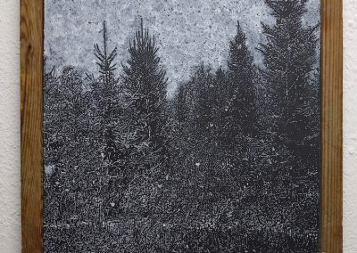Helen Altman, Snow, 2018, vintage slate chalkboard, acrylic paint and chalk, 16 x 16 x 1 inches