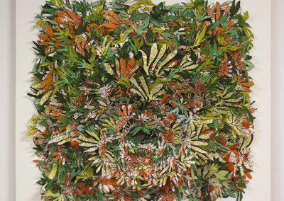 Natasha Bowdoin, Gardenhead 01, 2015, Cut paper, ink, and gouache mounted panel, 26h x 26w x 5d in