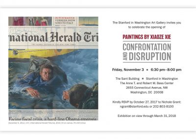 Exhibition Invitation, Paintings by Xiaoze Xie: Confrontation and Disruption, 2017, Stanford in Washington Art Gallery