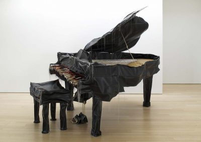 Margarita Cabrera, Baby Grand Piano, 2005, Vinyl, thread, metal and wood, 80h x 60w x 95d in