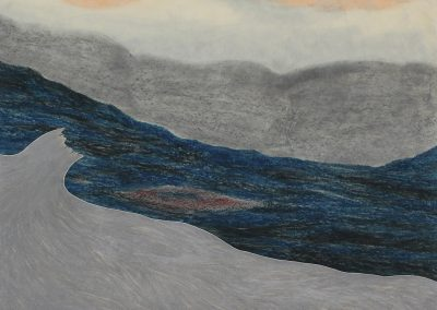 Robyn O'Neil, A River, 2013 , Collage, oil pastel and graphite on paper, 23 1/2h x 30w in