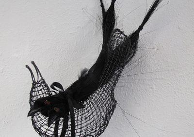 Helen Altman, Fancy Bird, 2017, Wire, steel, ribbon and vintage millinery birds, 22h x 16w x 9d in