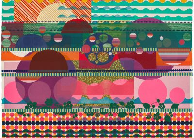Beatriz Milhazes, Purple Dahlia, 2015, Woodblock and screenprint, 60 1/4h x 78 3/4w in
