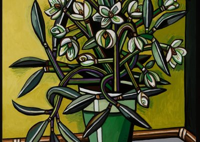 David Bates, Christmas Roses, 2017, Oil on canvas, 48h x 40w in