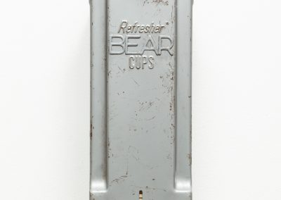 Helen Altman, Bear Cups, 2018, Vintage cup dispenser, found object, paper lettering, cups and paint, 12 1/2h x 4 1/2w x 4d in