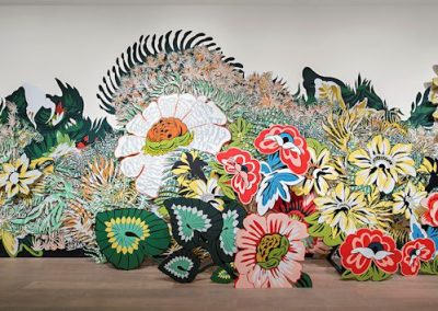 Natasha Bowdoin, Garden Plot, 2015, Gouache, acrylic and ink on cut paper and board and acrylic on wall, Site specific installation, 13 x 54 x 6 feet