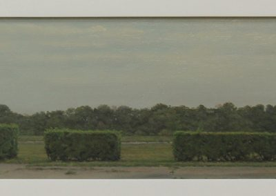 Julie Bozzi, Four Surviving Hedge Fragments, 2003, Oil on canvas, 4h x 18 3/4w in