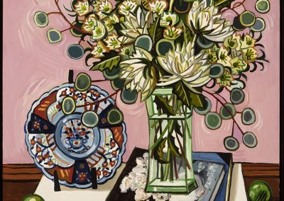 David Bates, Chrysanthemums and Books, 2017, Oil on canvas, 40h x 36w in